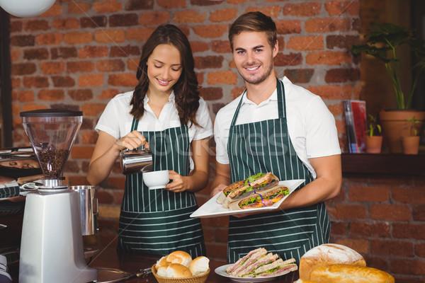 Mutlu çalışma gülümseme portre kahvehane Stok fotoğraf © wavebreak_media