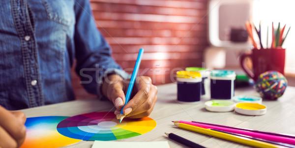 Gráfico estilista desenho cor traçar local de trabalho Foto stock © wavebreak_media