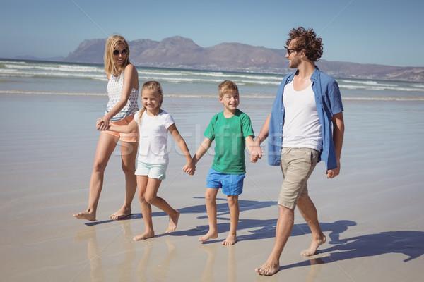 Szczęśliwą rodzinę trzymając się za ręce spaceru plaży wraz brzegu Zdjęcia stock © wavebreak_media