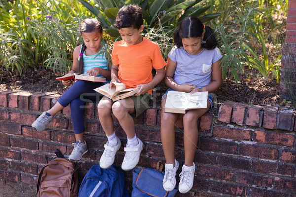 Full length of friends reading books while sitting on retaining wall  Stock photo © wavebreak_media
