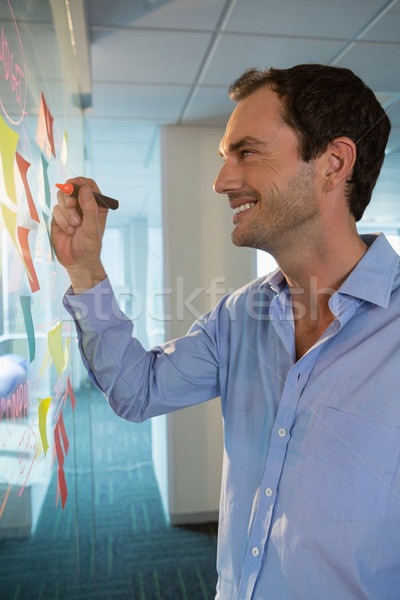 Male executive writing on sticky notes with a marker Stock photo © wavebreak_media