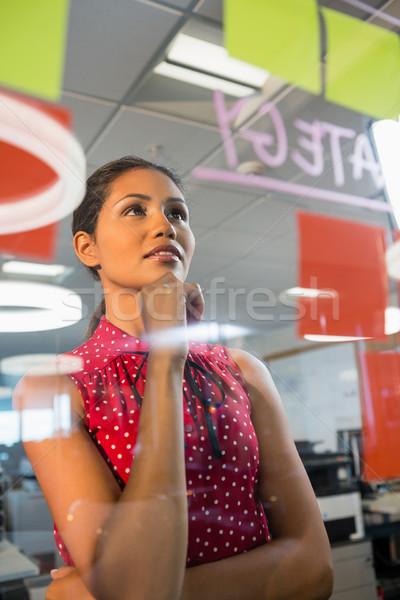 Thoughful executive reading sticky notes Stock photo © wavebreak_media