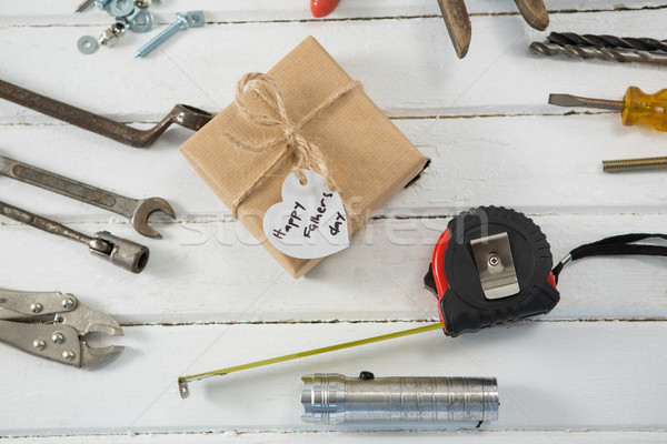 Overhead view of fathers day gift with tools on table Stock photo © wavebreak_media