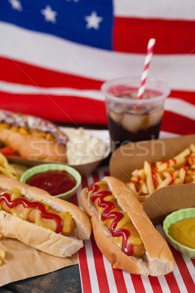 Przekąski tabeli żywności strony banderą Zdjęcia stock © wavebreak_media