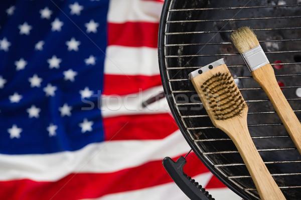 Ecset barbeque amerikai zászló közelkép háttér asztal Stock fotó © wavebreak_media