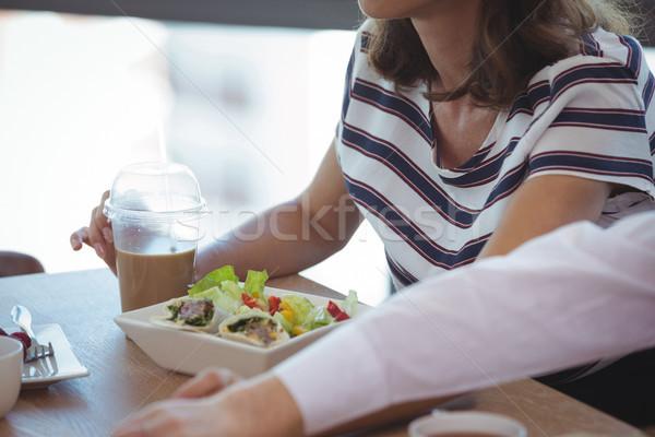 Magasról fotózva kilátás üzlet kollégák reggeli asztal Stock fotó © wavebreak_media