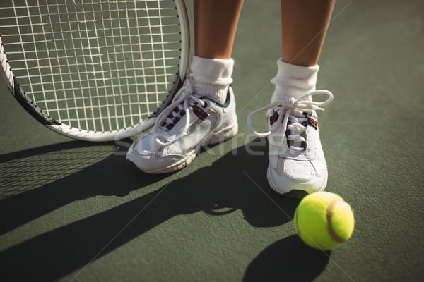 Niedrig Abteilung Mädchen Schläger Tennis stehen Stock foto © wavebreak_media