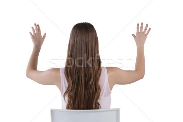 Menina invisível virtual tela branco Foto stock © wavebreak_media