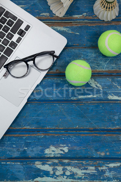 Stock fotó: Kilátás · laptop · szemüveg · tenisz · golyók · kék