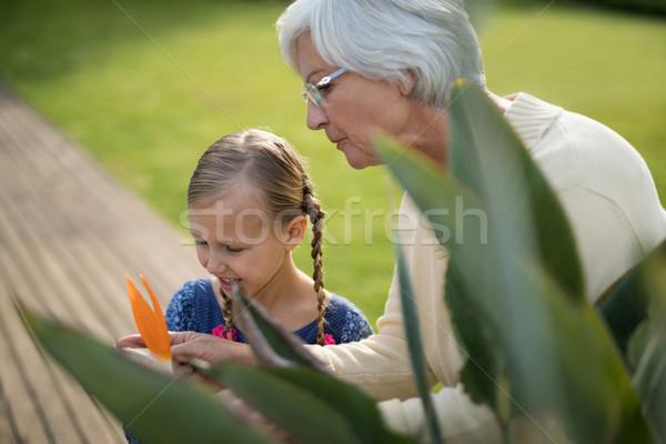Torun büyükanne bakıyor sarı çiçek bitki gülen Stok fotoğraf © wavebreak_media
