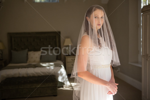 肖像 花嫁 ウェディングドレス ホーム 立って 女性 ストックフォト © wavebreak_media