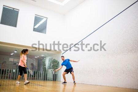 Pareja jugando juego calabacín tribunal mujer Foto stock © wavebreak_media