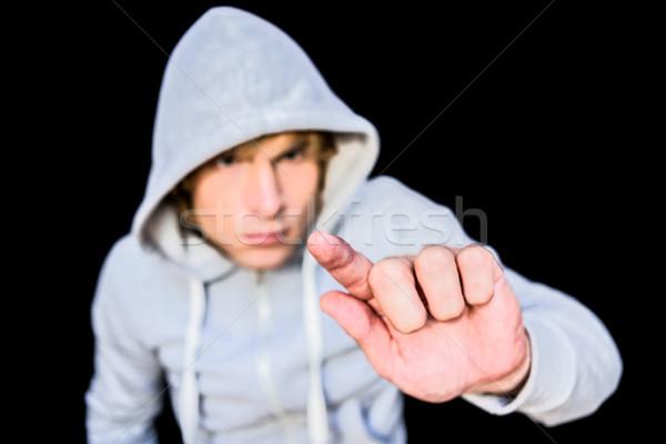 человека куртка черный пальца мужчины опасность Сток-фото © wavebreak_media