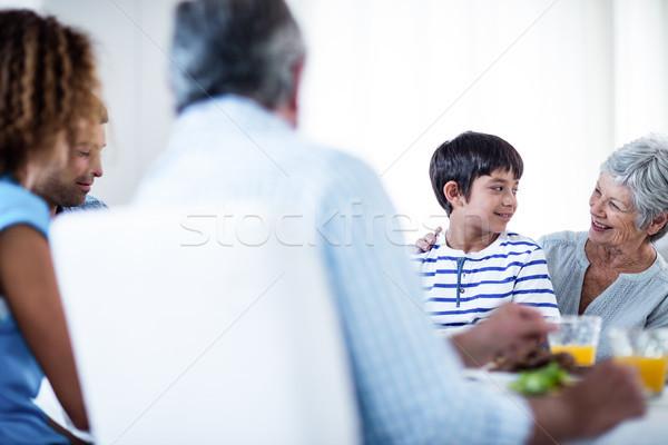 Grandmother and grandson having breakfast with family Stock photo © wavebreak_media