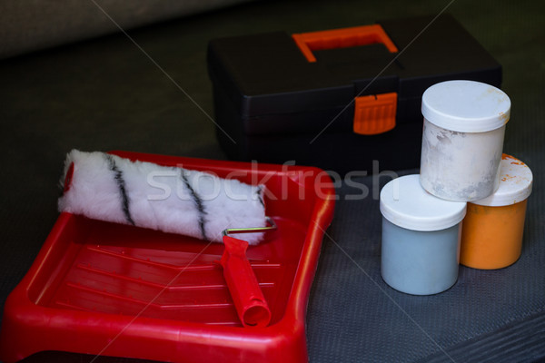 Festék szerszámosláda tálca konténer közelkép padló Stock fotó © wavebreak_media