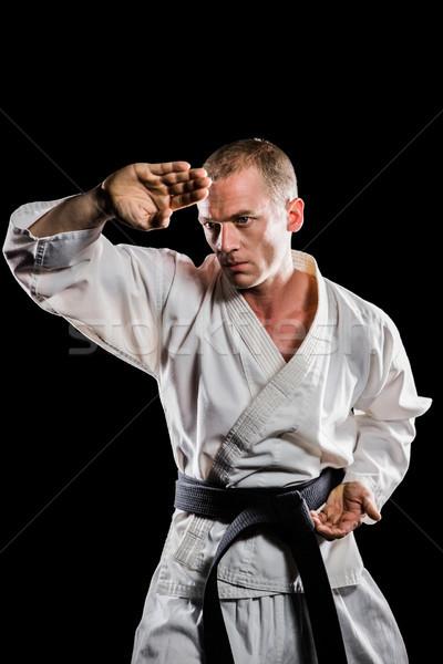 Lutador karatê posição preto fitness Foto stock © wavebreak_media