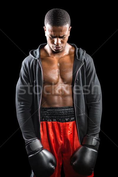 Boxoló pózol kudarc lehangolt fekete box Stock fotó © wavebreak_media