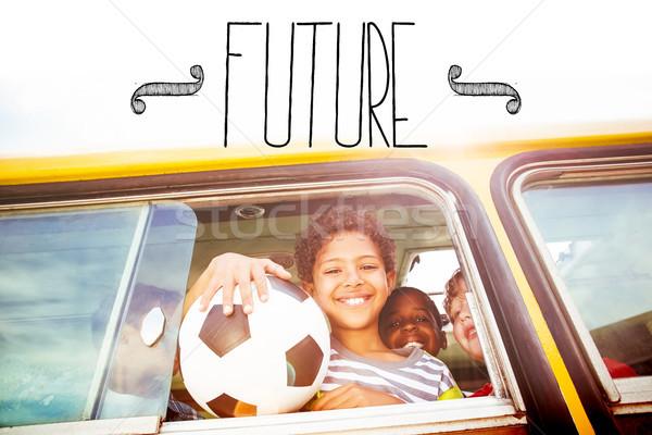 Future against cute pupils smiling at camera in the school bus Stock photo © wavebreak_media