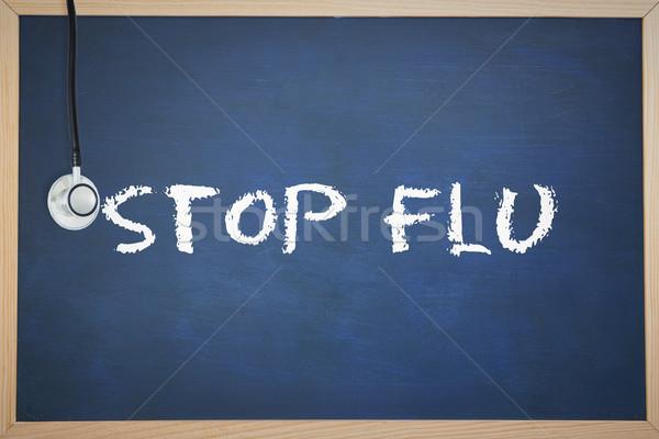 Stop grypa Tablica słowo stetoskop Zdjęcia stock © wavebreak_media