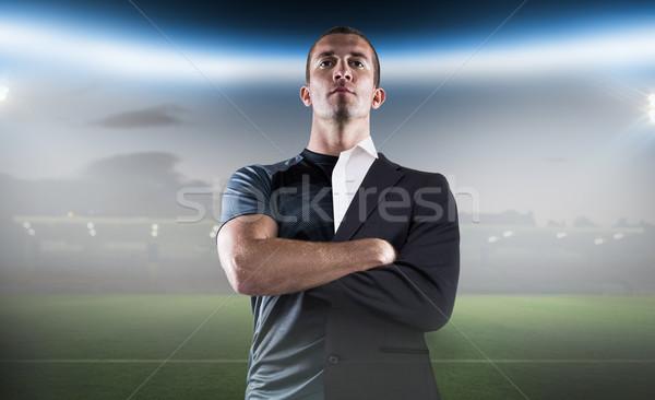 Imagen rugby jugador los brazos cruzados Foto stock © wavebreak_media