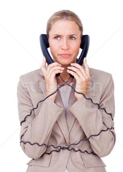 öfkeli işkadını yukarı telefon telleri beyaz Stok fotoğraf © wavebreak_media