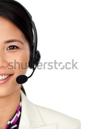 顧客服務 代表 耳機 孤立 白 女子 商業照片 © wavebreak_media