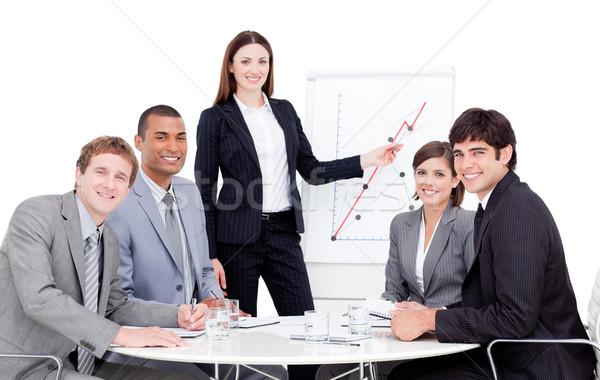 Karizmatikus menedzser bemutató üzlet nő mosoly Stock fotó © wavebreak_media