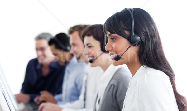 üzletemberek headset ügyfélszolgálat számítógép boldog mikrofon Stock fotó © wavebreak_media