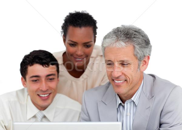 Stockfoto: Business · met · behulp · van · laptop · witte · vrouw · laptop