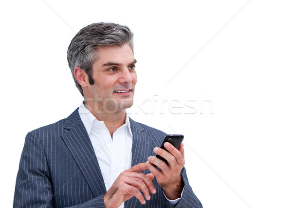 Bájos üzletember küldés szöveg férfi telefon Stock fotó © wavebreak_media