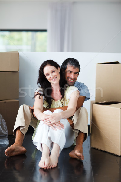 Mosolyog pár ül új ház mozog nő Stock fotó © wavebreak_media