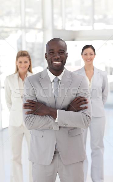 Sorridente gerente equipe escritório menina mulheres Foto stock © wavebreak_media