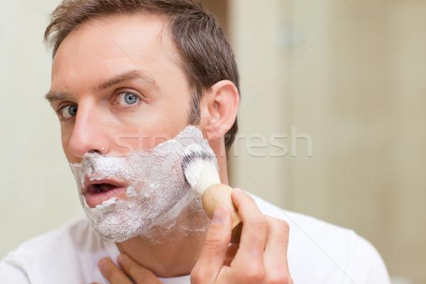 Man shaving in the bathroom Stock photo © wavebreak_media