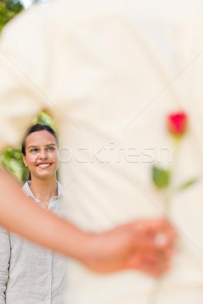 Feliz homem oferta rosa namorada sorrir Foto stock © wavebreak_media