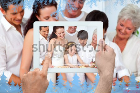 Collage of a family enjoying different moments together at home Stock photo © wavebreak_media