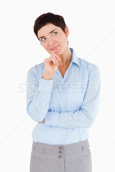 Ernstig zakenvrouw hand kin witte vrouw Stockfoto © wavebreak_media