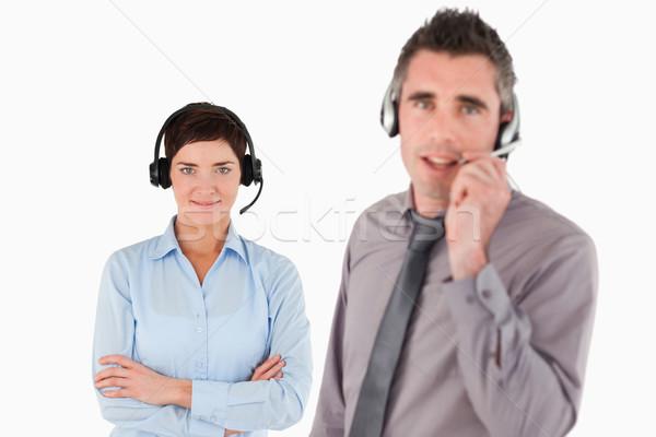 Foto stock: Isolado · escritório · trabalhar · casal · empresário