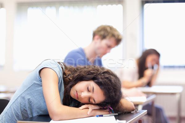 Diák alszik asztal osztályterem nő kéz Stock fotó © wavebreak_media