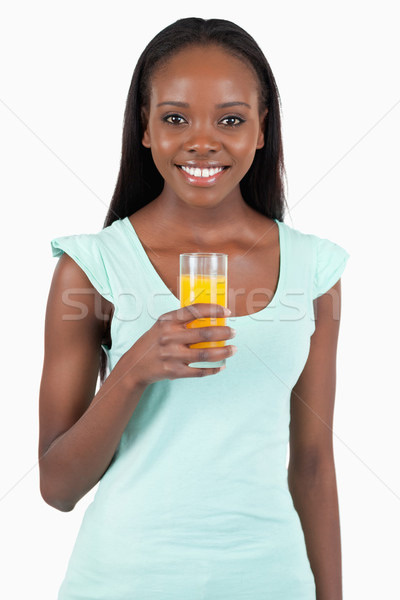 Gelukkig glimlachende vrouw glas sinaasappelsap witte gezondheid Stockfoto © wavebreak_media
