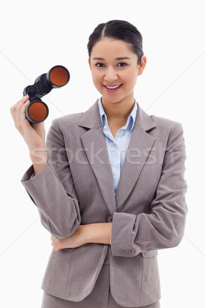 Stockfoto: Portret · zakenvrouw · verrekijker · witte · werk