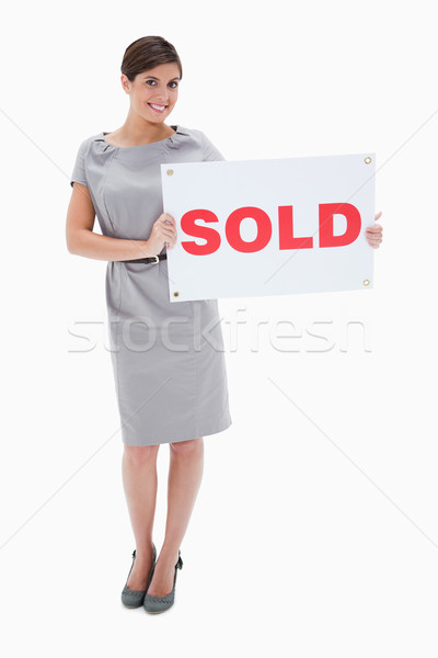 Mulher vendido assinar mãos branco Foto stock © wavebreak_media