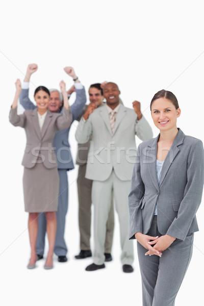 Mosolyog csapat mögött fehér mosoly boldog Stock fotó © wavebreak_media