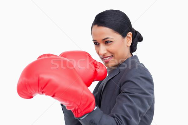 Yandan görünüş boks eldivenleri beyaz iş Stok fotoğraf © wavebreak_media