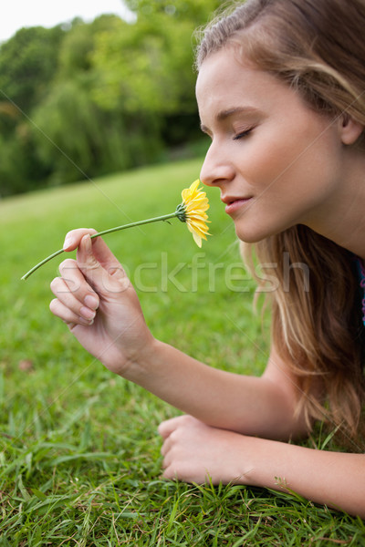 Young relaxed girl closing her eyes while smelling a yellow flower in a park Stock photo © wavebreak_media