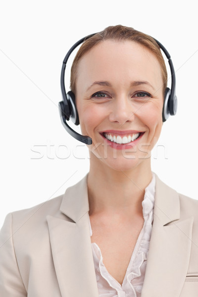 Retrato sorridente empresária fone branco Foto stock © wavebreak_media