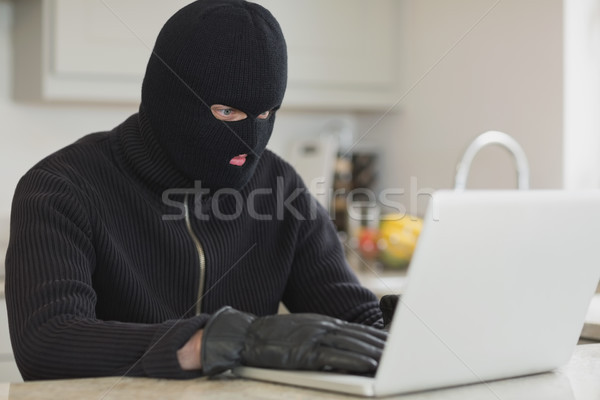Burglar sitting in the kitchen and hacking a laptop Stock photo © wavebreak_media