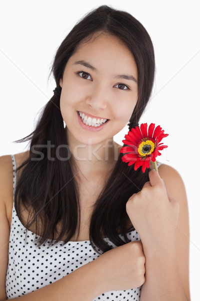Happy woman holding a red daisy in polka dot dress Stock photo © wavebreak_media