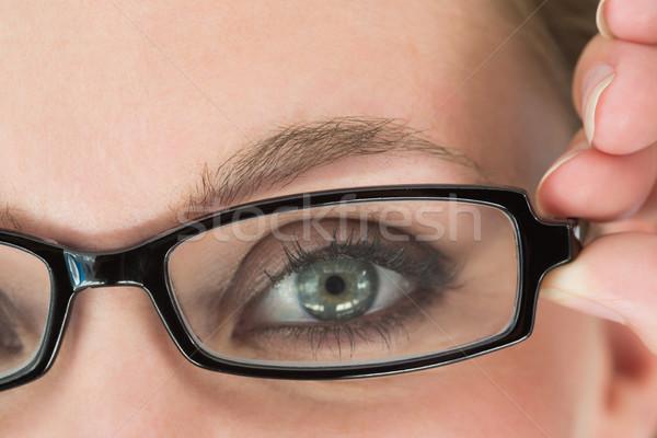 Zöld nő szemüveg közelkép kezek szépség Stock fotó © wavebreak_media