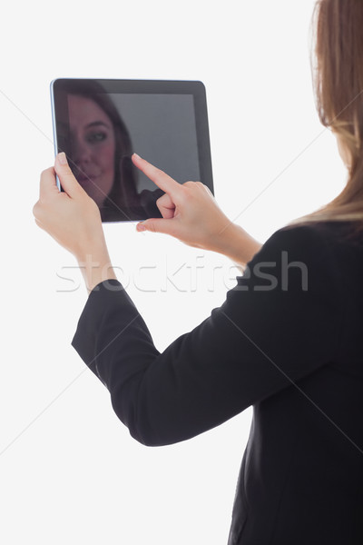 Stock photo: Business woman using digital tablet