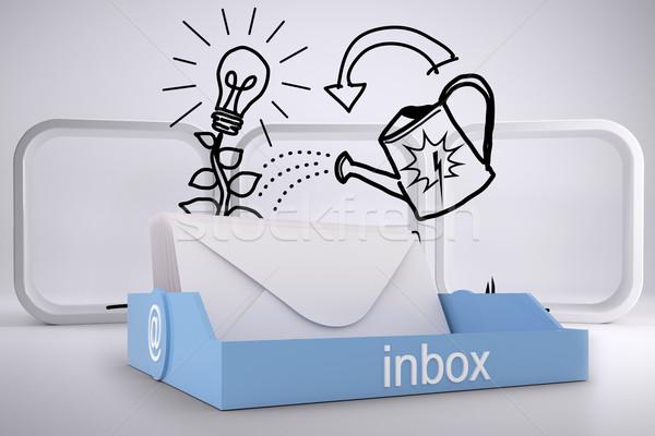 Imagen azul bandeja de entrada creciente idea Foto stock © wavebreak_media